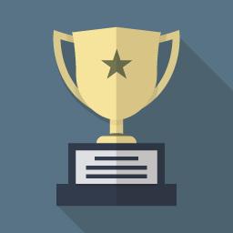 フラットデザインのアイコン 優勝カップのイラストアイコン