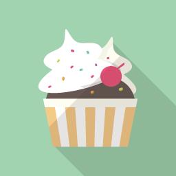 カップケーキのイラストアイコン Flat Icon Design フラットアイコンデザイン