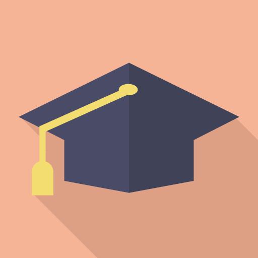 海外の大学帽子のフラットアイコン