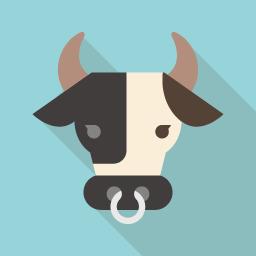 Cow Flat Icon Design フラットアイコンデザイン